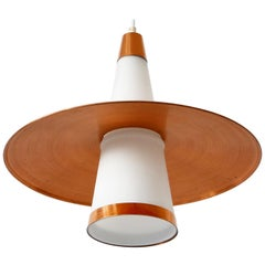 Mid-Century Modern Sputnik Copper & Opaline Glass Pendant Lamp UFO 1950s Denmark