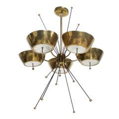 Mid-Century Modern Sputnik Italian Chandelier in Brass Paavo Tynell Attributed