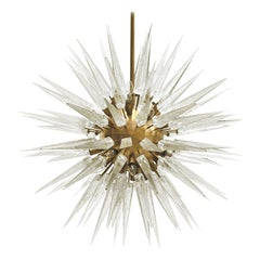 Mid-Century Modern Sputnik Murano Glass and Brass Italian Chandelier