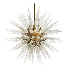 Mid-Century Modern Sputnik Murano Glass and Brass Italian Chandelier