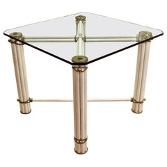 Mid-Century Modern Square Bamboo Rattan Brass Dinette Table Linden for Mcguire