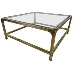 Mid-Century Modern Square Brass and Beveled Glass Coffee Table