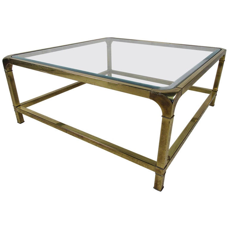 mid century modern square brass and beveled glass coffee table