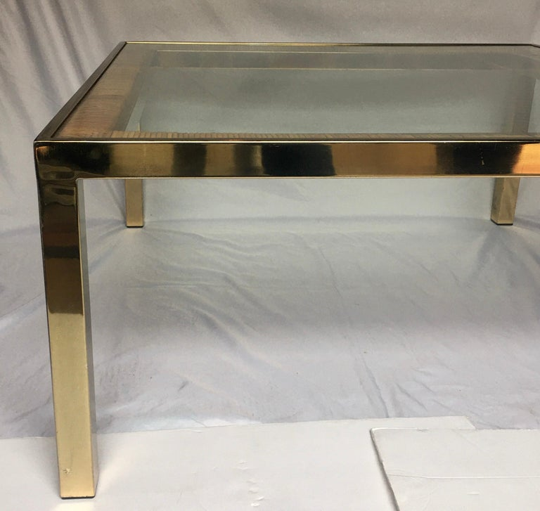 Plated Mid-Century Modern Square Brass and Wicker Coffee Table, Milo Baughman DIA Style For Sale