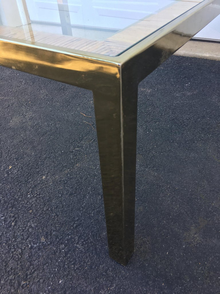 Mid-Century Modern Square Brass and Wicker Coffee Table, Milo Baughman DIA Style For Sale 3