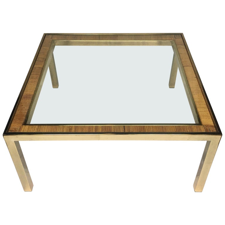 Mid-Century Modern Square Brass and Wicker Coffee Table, Milo Baughman DIA Style For Sale