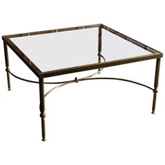 Mid-Century Modern Square Brass Coffee Table