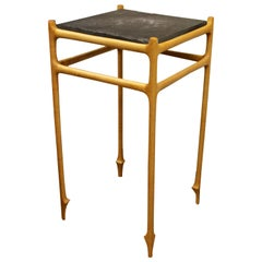 Mid-Century Modern Square Carved Wood and Slate Pedestal Display Stand