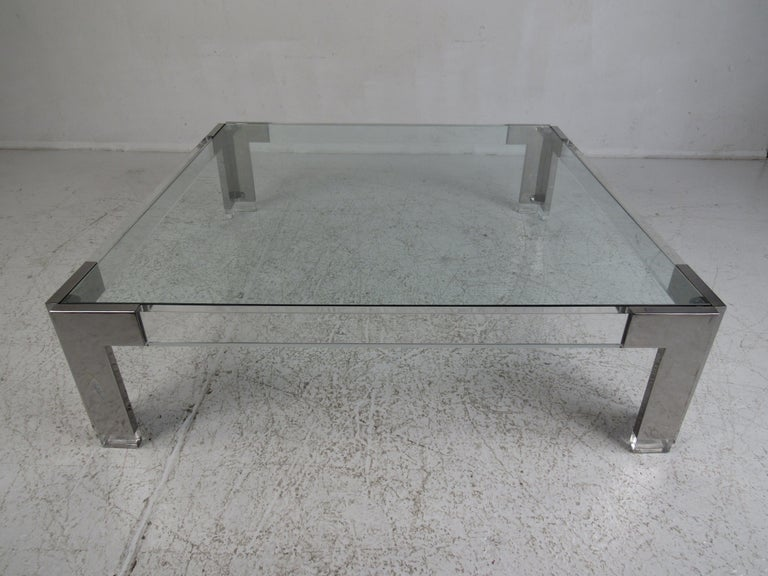 Mid Century Modern Square Chrome And Lucite Coffee Table For Sale