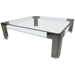 Mid-Century Modern Square Chrome and Lucite Coffee Table