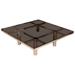 Mid-Century Modern Square Chrome Smoked Glass Coffee Table Tobia Scarpa Knoll