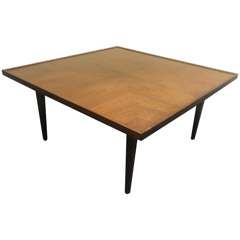 Mid-Century Modern Square Coffee Table in Walnut For Sale