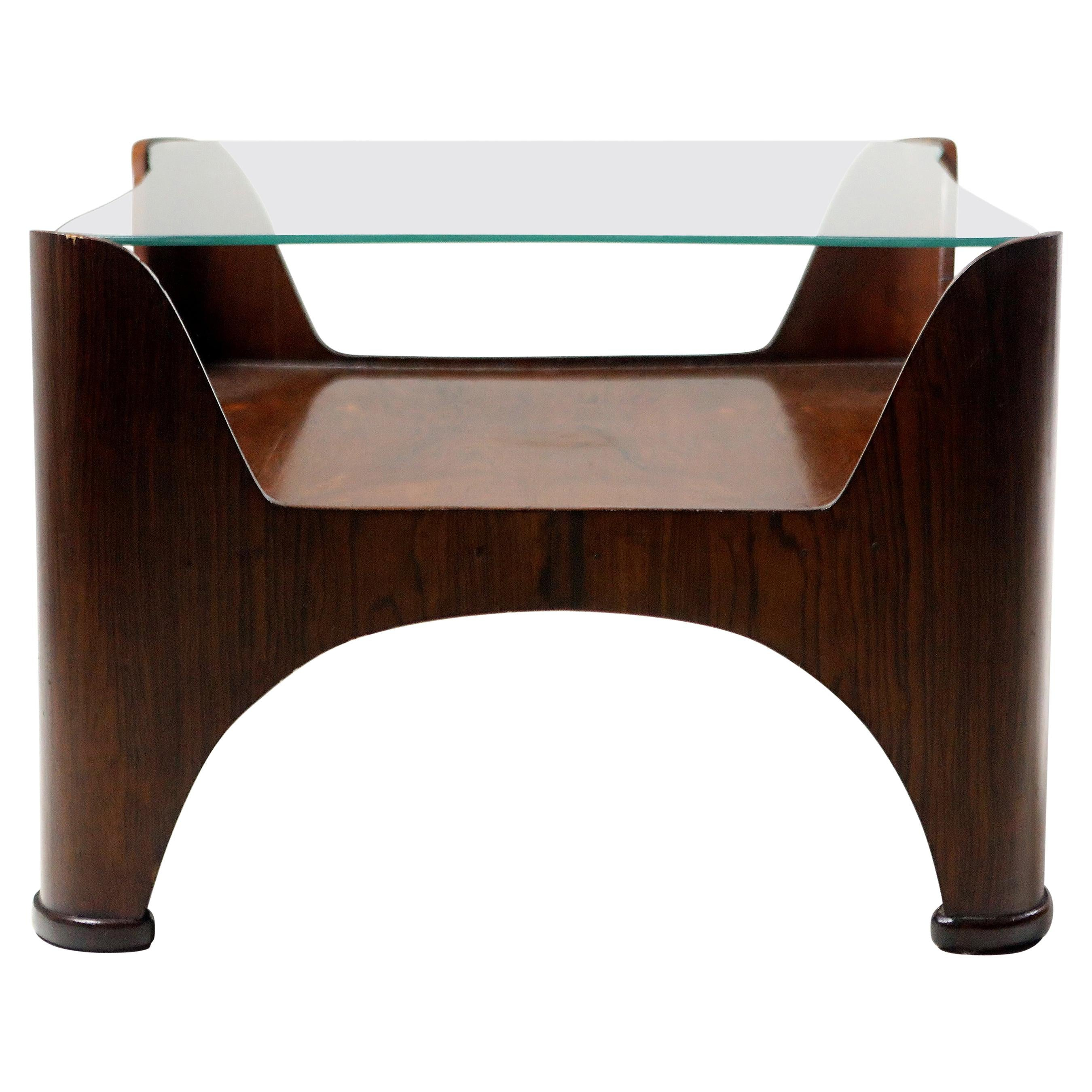 Mid-Century Modern Square Glass-Top Hardwood End Table, Brazil, 1960s