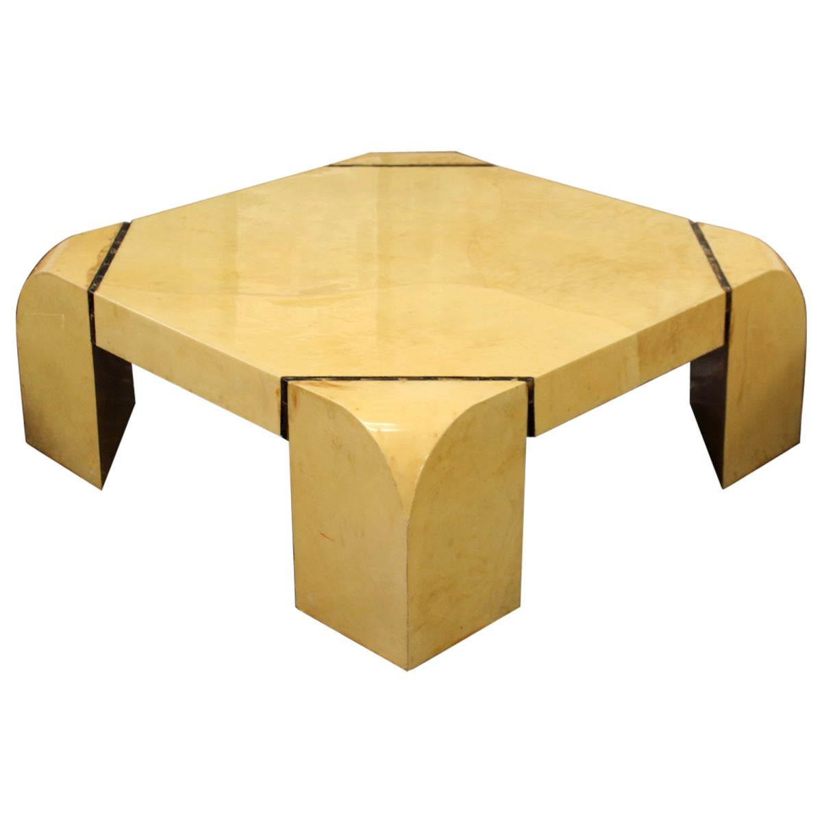 Mid-Century Modern Square Goatskin Coffee Table Attr. to Karl Springer 1970s