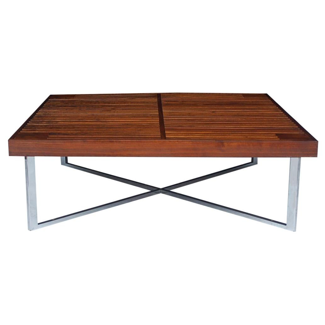 Mid-Century Modern Square Slat Wood Cocktail Table with X-Base after Nelson