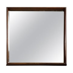 Mid-Century Modern Square Wall Mirror in Solid Hardwood Frame, Brazil, 1960s