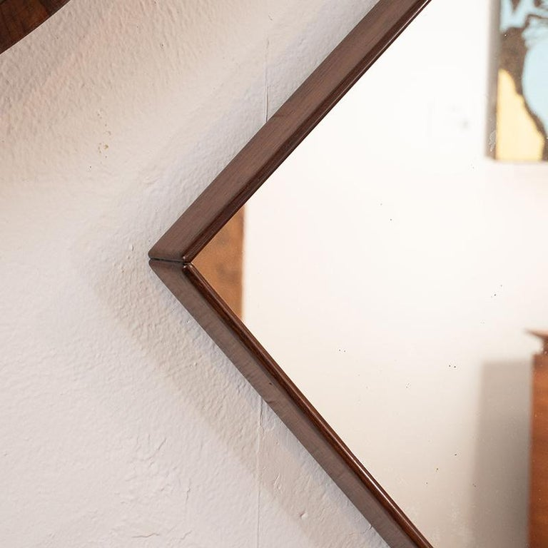 Brazilian Mid-Century Modern Square Wall Mirror in Solid Wood Frame, Brazil, 1960s For Sale