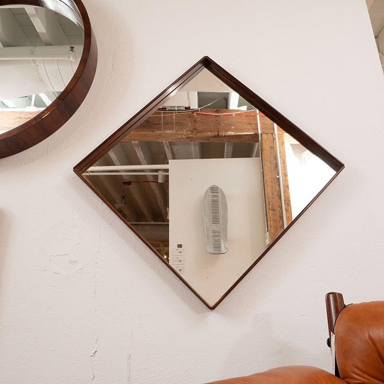 Mid-Century Modern Square Wall Mirror in Solid Wood Frame, Brazil, 1960s In Good Condition For Sale In Miami, FL