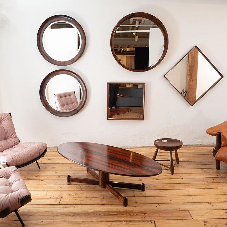 Mid-20th Century Mid-Century Modern Square Wall Mirror in Solid Wood Frame, Brazil, 1960s For Sale
