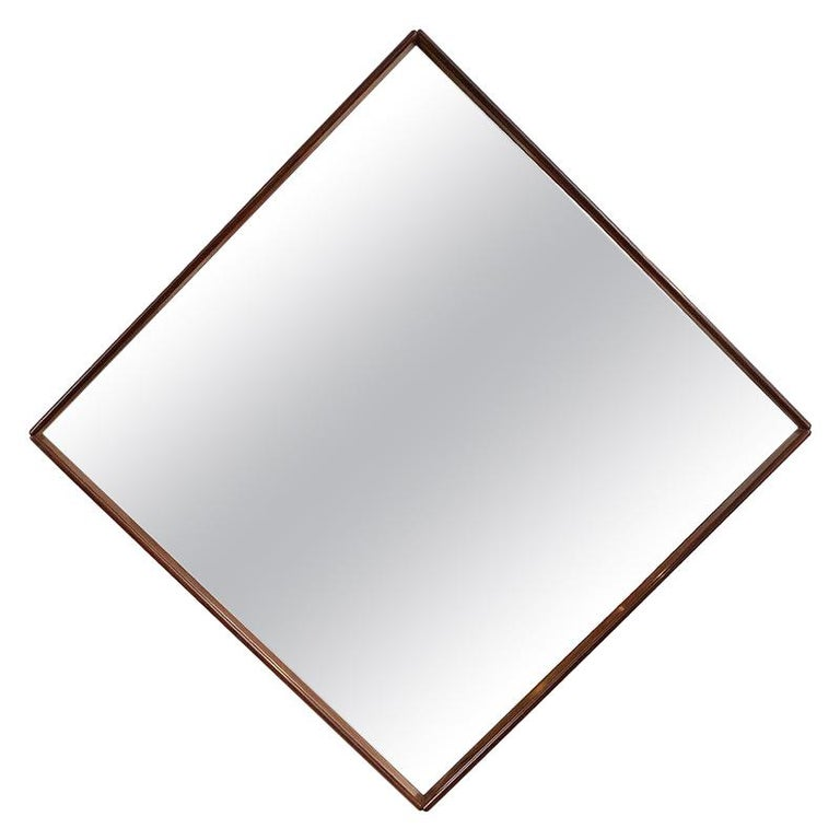 Mid-Century Modern Square Wall Mirror in Solid Wood Frame, Brazil, 1960s For Sale