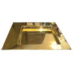 Mid-Century Modern Squared Brass Tray by Cleto Munari, circa 1970