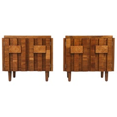 "Mid-Century Modern ""Stacatto"" Geometric Nightstands by Lane Furniture"