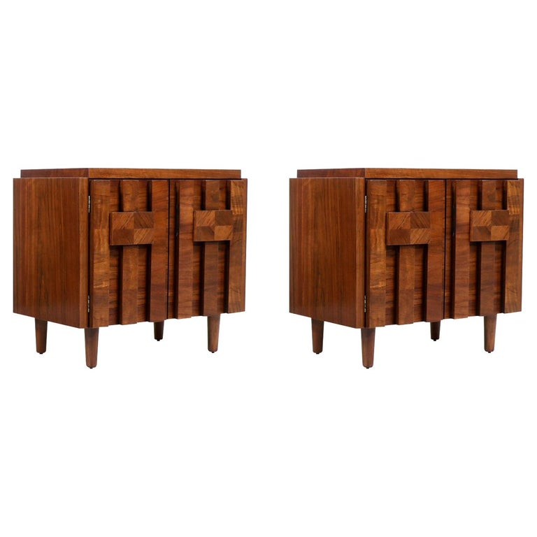 """Mid-Century Modern """"Stacatto"""" Geometric Night Stands by Lane Furniture"""