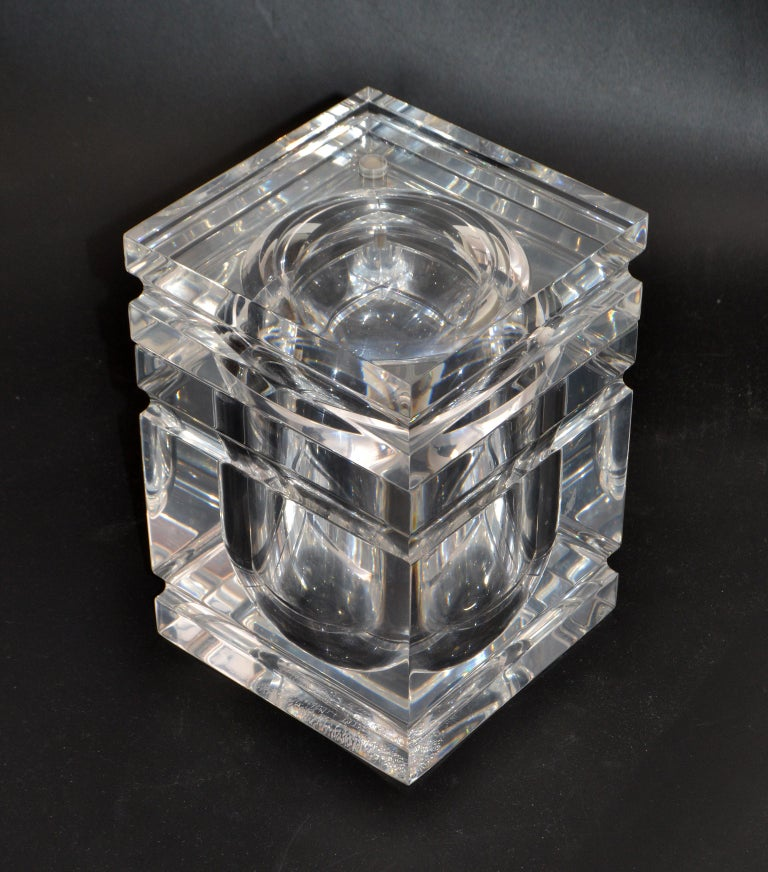 Polished Mid-Century Modern Stacked Lucite Ice Bucket and Attached Swing Lid For Sale