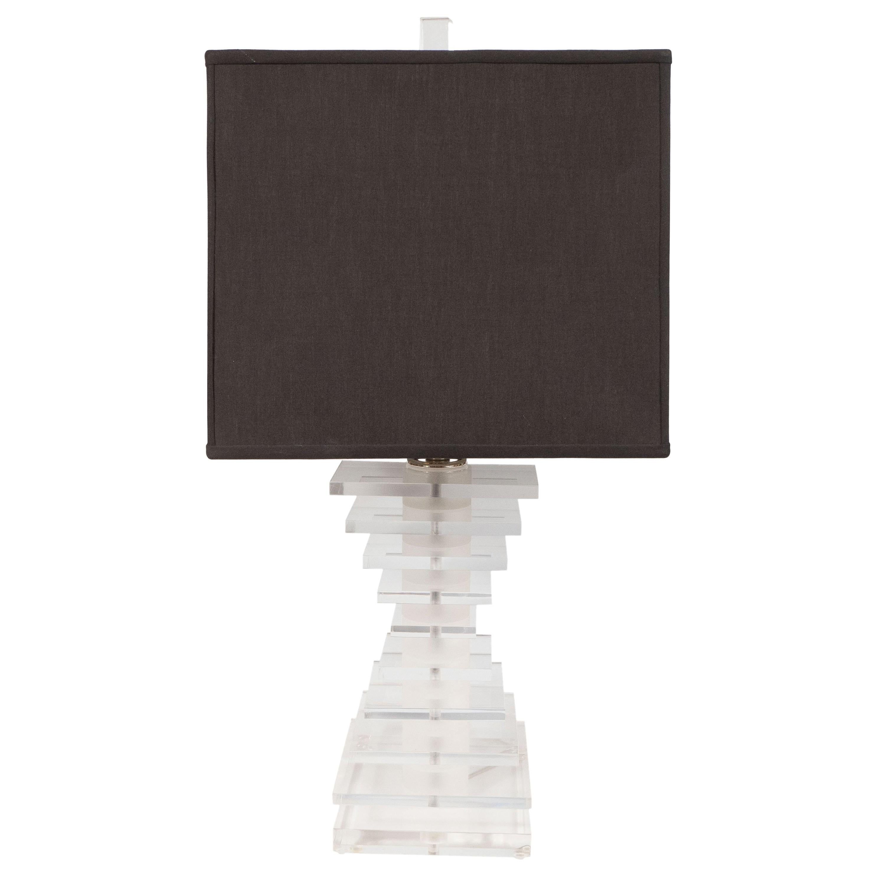 Mid-Century Modern Stacked Lucite Skyscraper Table Lamp with Nickel Fittings