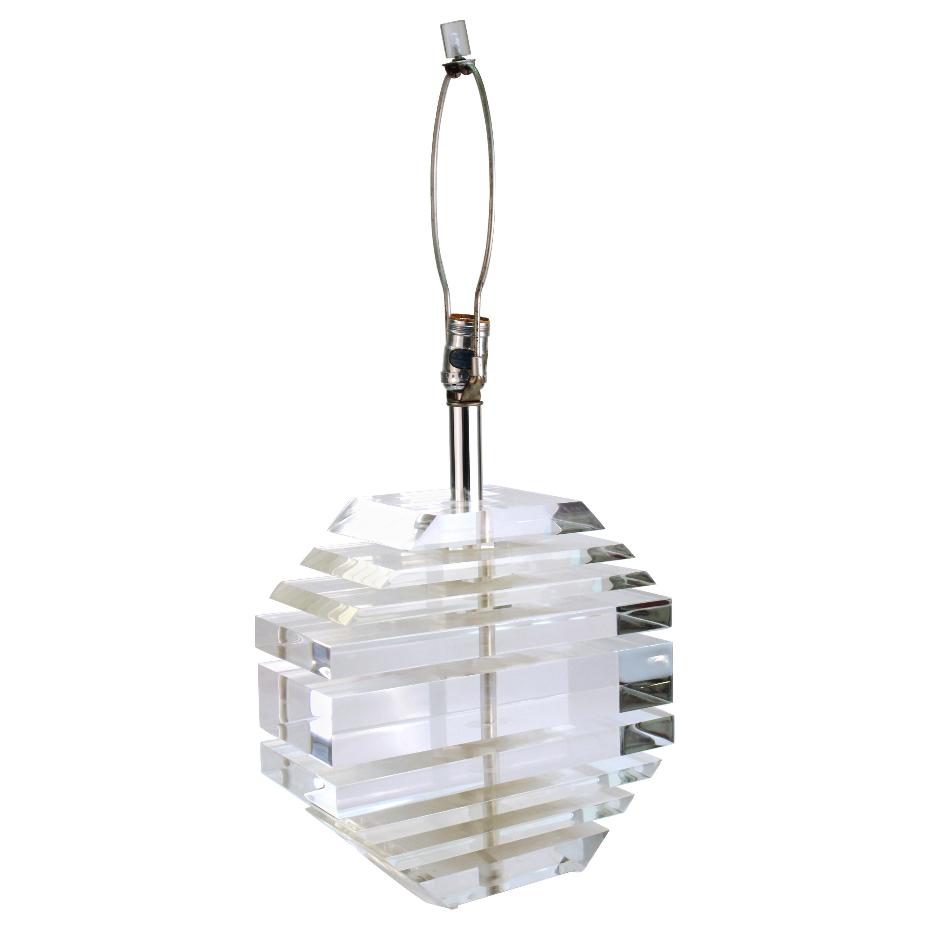 Mid-Century Modern Stacked Lucite Table Lamp in Karl Springer Style