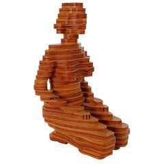 Mid-Century Modern Stacked Plywood Sculpture in Art Deco Figural Form
