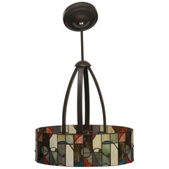 2008 Mid-Century Modern Stained Glass and  Bronze Oval Shaped Pendant Light