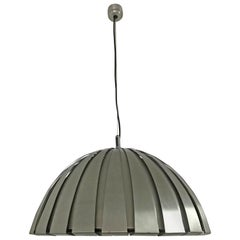 Mid-Century Modern Stainless Steel Chandelier, Martinelli Luce, Italy