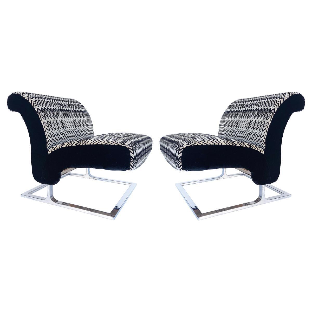 Mid-Century Modern Stainless Upholstered Slipper Chairs, Pair