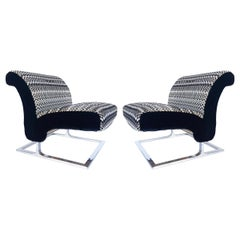 Mid-Century Modern Stainless Upholstered Slipper Chairs, Pair