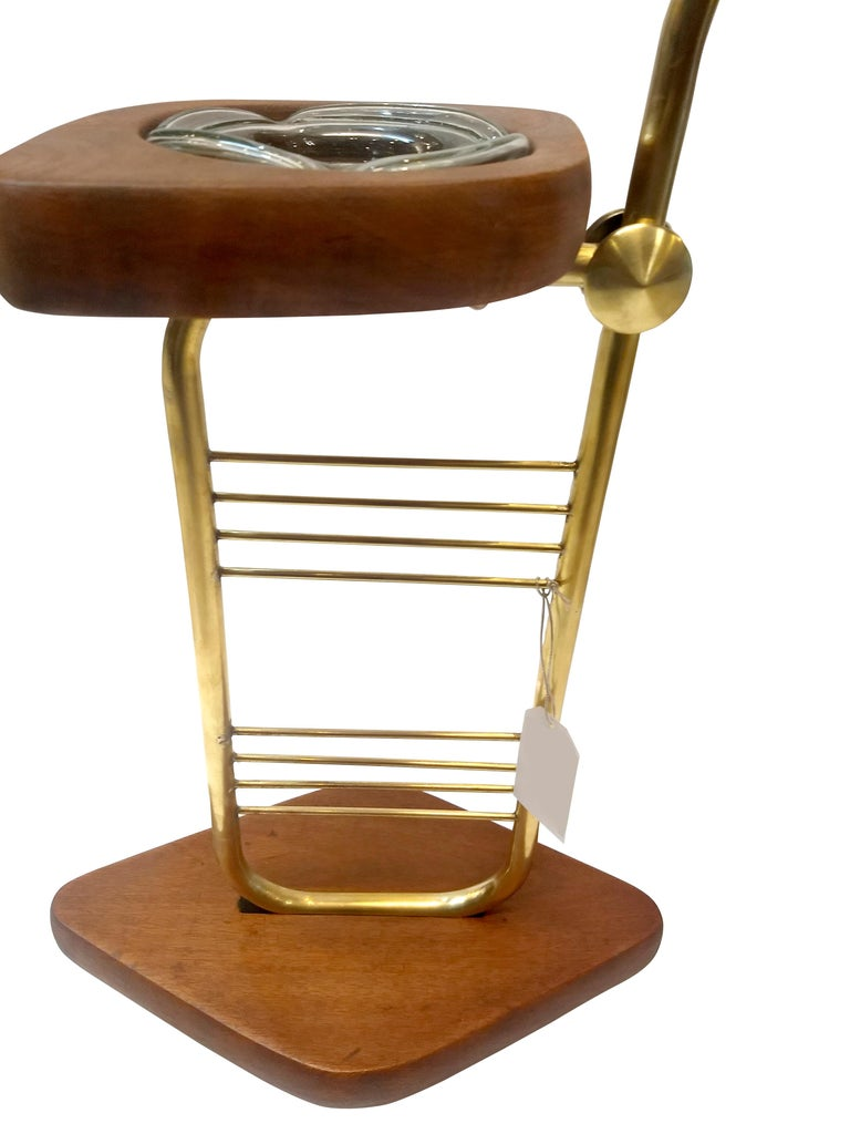 Mid-Century Modern Standing Set of Ashtrays in Mahogany and Brass from Mexico In Good Condition For Sale In Mexico, DF