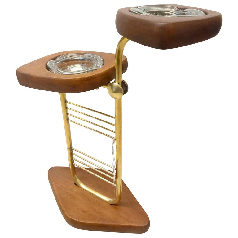 Mid-Century Modern Standing Set of Ashtrays in Mahogany and Brass from Mexico For Sale