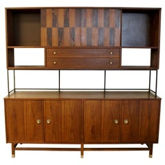 Mid Century Modern Stanley Rosewood Walnut Credenza & Hutch 1960s McCobb Style