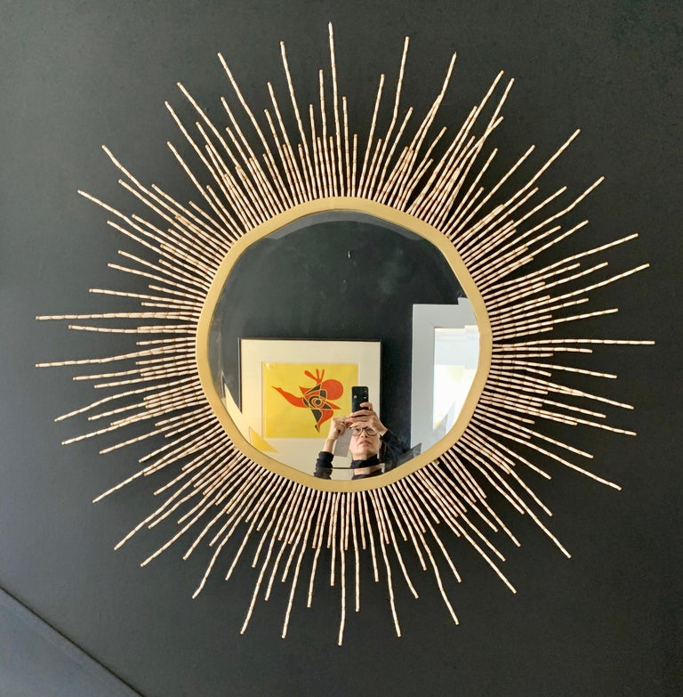 Magnificent starburst beaded mirrors from the 1970s that measures four feet in diameter.