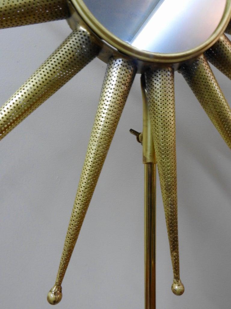American Mid-Century Modern Starburst Mirror on Stand For Sale