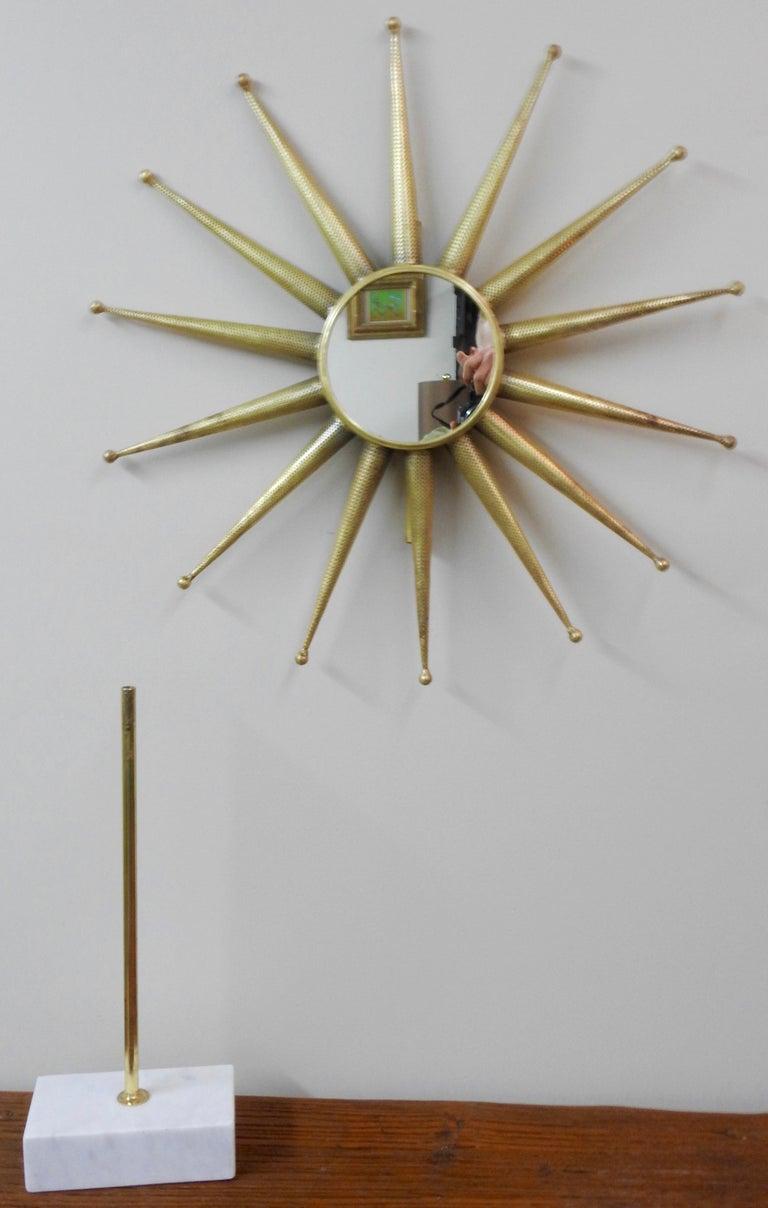 20th Century Mid-Century Modern Starburst Mirror on Stand For Sale