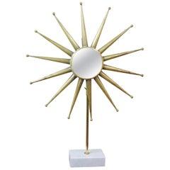 Mid-Century Modern Starburst Mirror on Stand