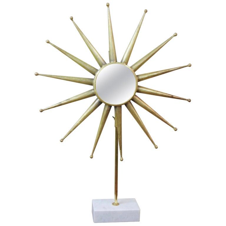 Mid-Century Modern Starburst Mirror on Stand For Sale