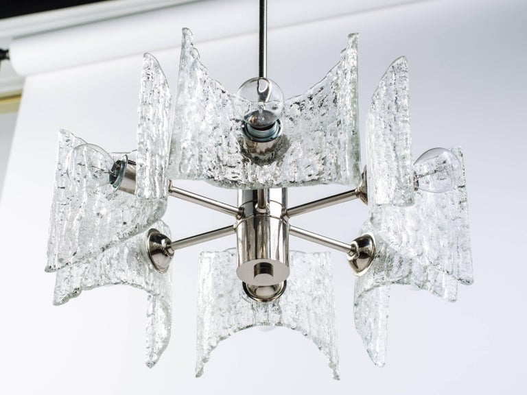 Hand-Crafted Mid-Century Modern Starburst Pendant Light with Ice Glass by Kalmar, circa 1960s For Sale