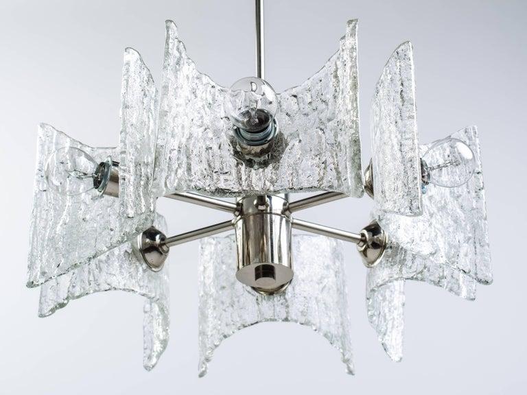 Mid-Century Modern Starburst Pendant Light with Ice Glass by Kalmar, circa 1960s For Sale 1