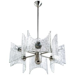 Mid-Century Modern Starburst Pendant Light with Ice Glass by Kalmar, circa 1960s