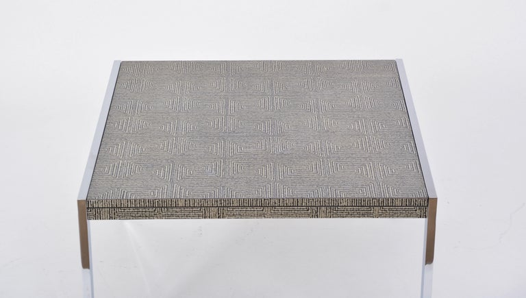 German Mid-Century Modern Steel and Aluminium Coffee Table with Graphic Meander Pattern For Sale