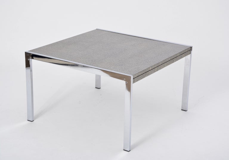Polychromed Mid-Century Modern Steel and Aluminium Coffee Table with Graphic Meander Pattern For Sale