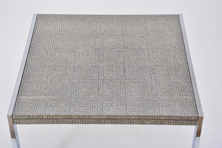 Mid-Century Modern Steel and Aluminium Coffee Table with Graphic Meander Pattern For Sale 1