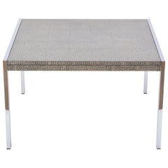 Mid-Century Modern Steel and Aluminium Coffee Table with Graphic Meander Pattern